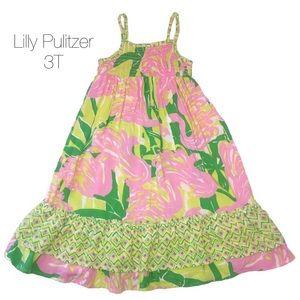 Lilly Pulitzer Maxi Dress Fan Dance Flamingo 3T
